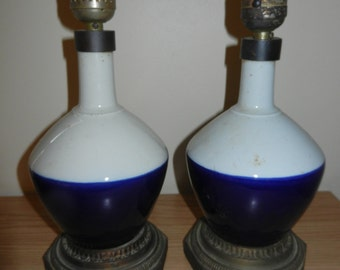 Pair Antique Blue/White Lamps - Early 1900s