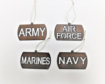 Military (2) dogtag ornaments mix and match any two made out of rusted rusty rustic metal