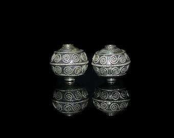 "Two 15mm Sterling Silver Bali ""Rope"" Swirls  Beads, 15mm Sterling Silver Beads, Bali Beads, Silver Beads, Sterling Silver Beads, Beads"