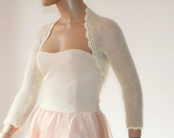 Ivory Shrug Crochet Bolero, Knit Cowl Shrug, Lace Shrug, Mohair 3/4 Sleeve Sweater Shrug, Winter Bridal Shrug Bolero Jacket / S - M - L
