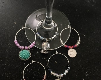 Namaste Theme Wine Glass Charms (Set of 5)