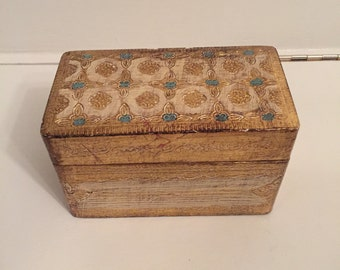 Vintage Florentine Box - Card Storage - Gold Florentine Box