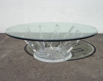 Lucite Table Coffee Base Mid Centry Modern Charles Hollis Jones Style Hollywood Regency Vintage Furniture Designer Console Dining MCM Glam