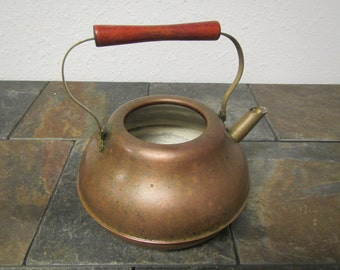 Old Copper Tea Pot , Kettle ** Old Weathered Rustic Patina,  mid century