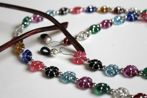 Beaded Eyeglass Chain, Colorful Flower Chain for Glasses, Beaded Eyeglass Holder, Gift Idea, Flower Lover Gift