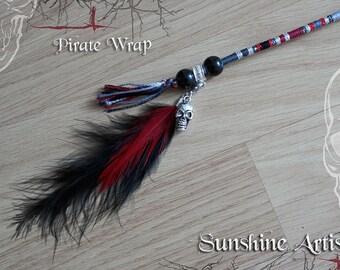 Pirate Wrap, hair wrap, Jack Sparrow, hair braid, black grey, blood red, gothic, Tibetan bead, Skeleton, wooden beads, black fluffy feather