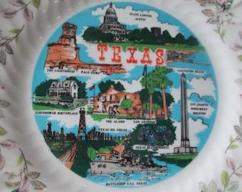 Vintage Texas China Plate, Texas Souvenir Plate