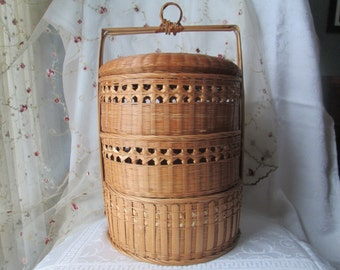 Vintage Chinese Wedding Basket, 3 Tier Wicker/Bamboo Stacking Basket