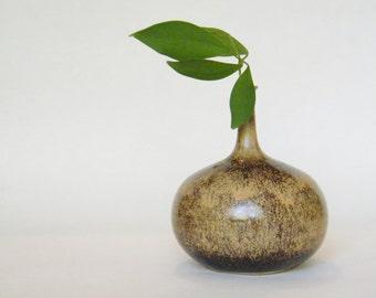 One Flower Ceramic Vase - 1960s - 1970s Flower Vase - Brown Glaze Vase - Studio Pottery Vase - Mid Century Modern Home Decor