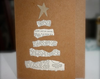 Recycled Paper, Christmas card, greeting card, Christmas tree, star, handmade, vintage, dictionary, paper, natural, happy holidays