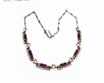 Elongated Link Necklace Red Glass Gold Tone Accents Sterling Silver