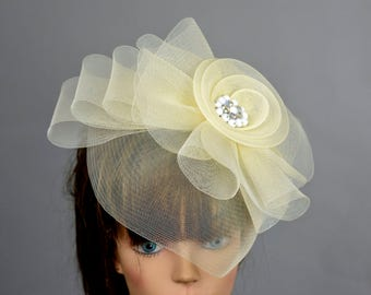 Ivory Headband Hat Kentucky Derby Hat Party Headband Party Hat Women Hat Fascinator