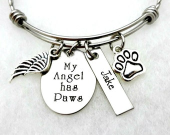 My Angel Has Paws - Memorial Pet Remembrance Bracelet or Necklace - Custom Personalized Engraved Jewelry