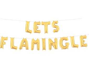Let's Flamingle Banner, Tropical Baby Shower, Palm Springs Bachelorette