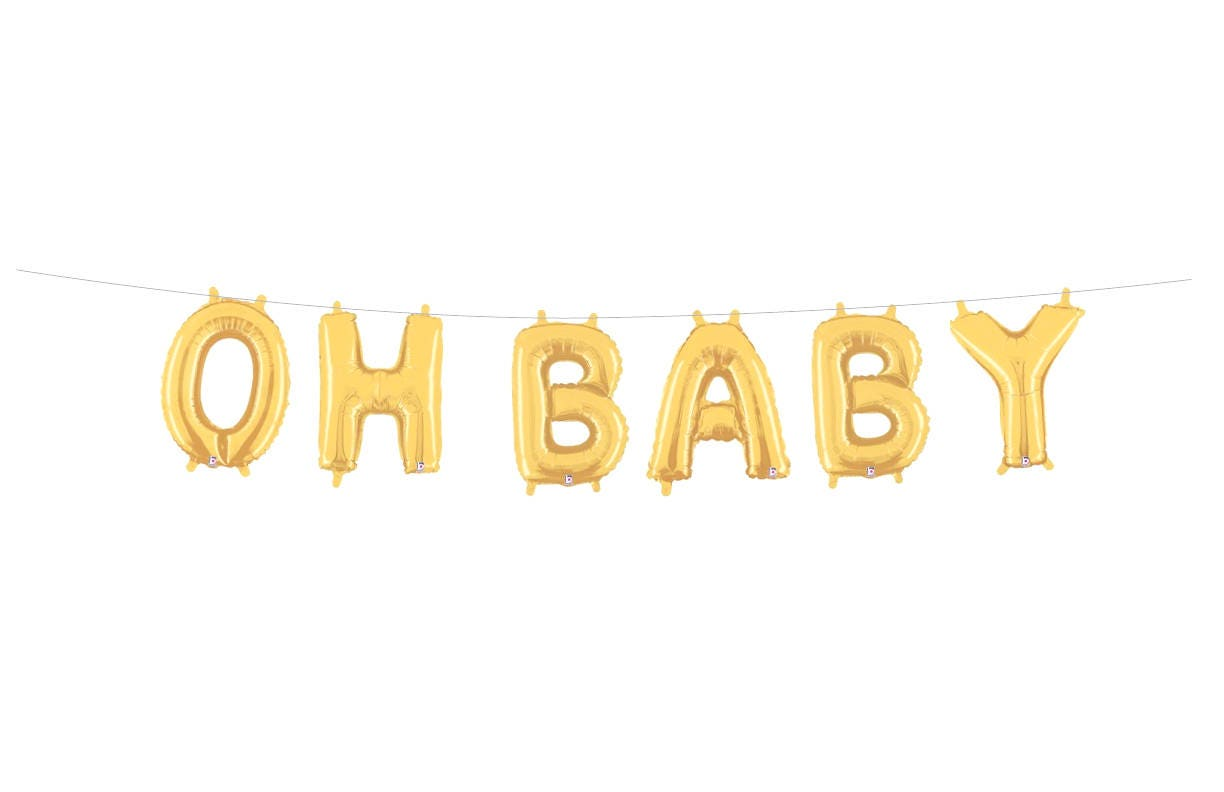 Ho how to tie balloon curtains - Oh Baby Balloons Letter Balloons Banner Baby Shower Banner Gold Silver Letter Balloons Baby Shower Decor Ideas Girl Boy Neutral Baby Shower