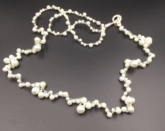 White Long Pearl Necklace, Wire Crocheted, Wedding Necklace