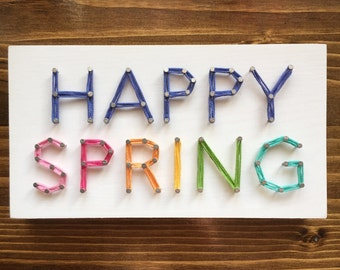 MADE TO ORDER String Art Happy Spring Sign