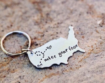 State Keychain USA Keychain Best Friends Long Distance Relationship Gift Personalized Message #USAXLm