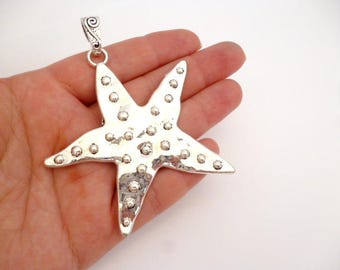 Large Silver Tone Charm Pendant_ANT054564120/20_Silver Charms_Large Starfish_of 75 mm _ pack 1 pcs