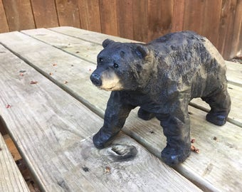 Bear Chainsaw Carving, Wood Carving, Black Bear, Hand Carved Wood Art, Handmade Woodworking, Sculpture, Perfect Wood Gift, Art, Made in Ohio