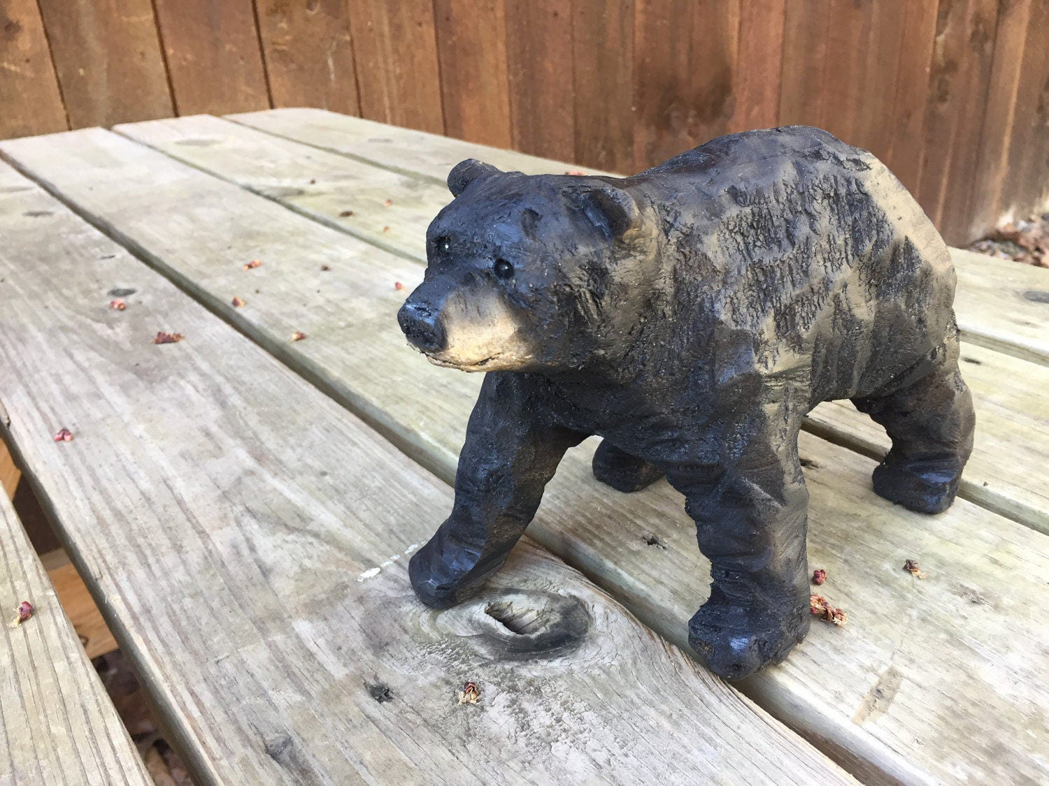 Bear chainsaw carving wood black hand