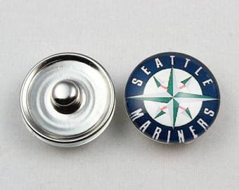 Seattle Mariners inspired Snap Button Charm-Qty: 1