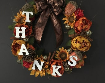 "Lighted ""Thanks""giving Wreath 18 inch"