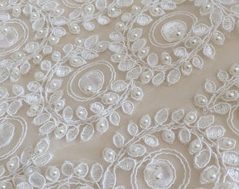Wedding lace trim for a veil,  Ivory Embroidered Floral Lace Trim - wedding dress, hair accessory or veil.