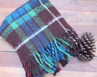 Vintage Kerrycroy Wool Blanket, Scotttish Knee Rug, Plaid Wool Blanket, Tartan Wool Blanket, Wool Throw Plaid Stadium Blanket