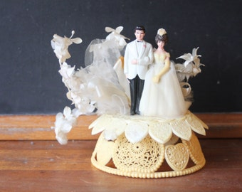 Vintage Wedding Cake Topper, Anniversary Cake Topper, Brunette Bride and Groom