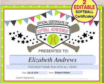 EDITABLE Softball Certificates INSTANT DOWNLOAD Softball Award, Printable Girls Softball Team Participation Awards, Sports Acheivement