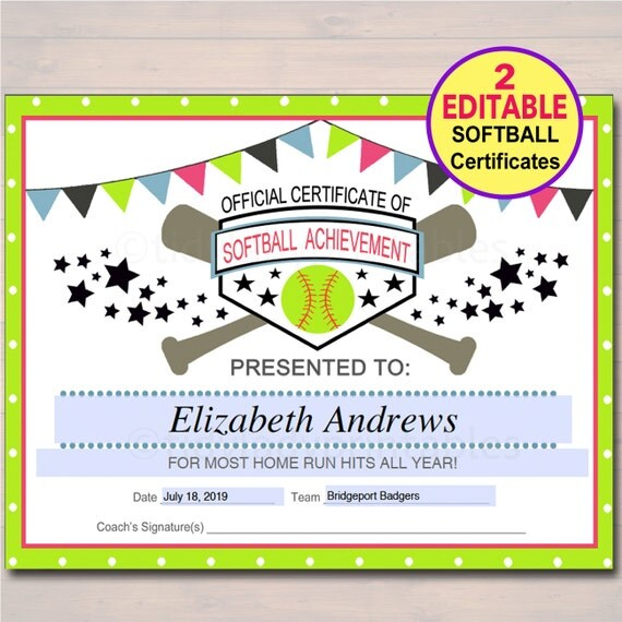 softball awards certificates  EDITABLE Softball Certificates INSTANT DOWNLOAD Softball