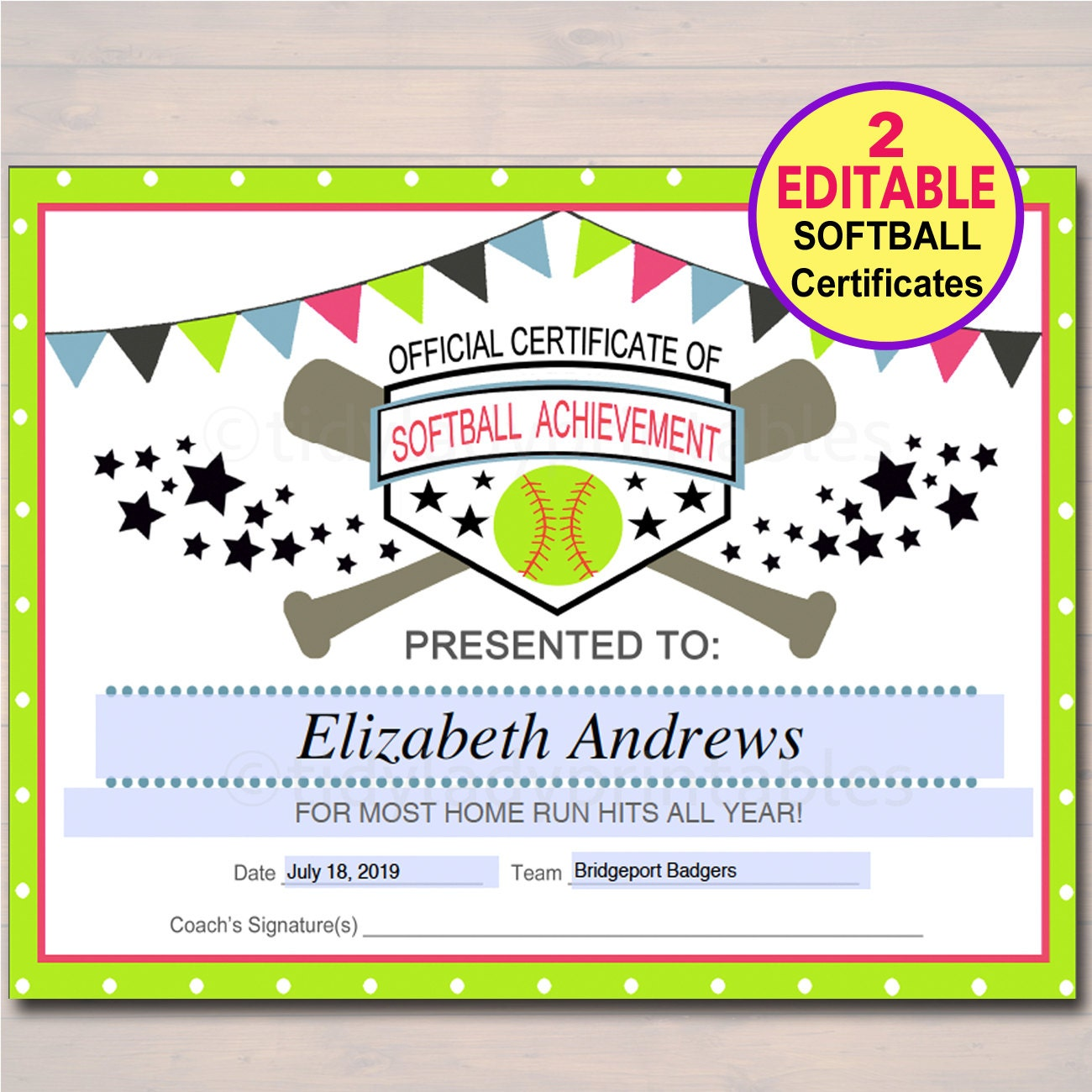 Editable softball certificates instant download softball zoom pronofoot35fo Choice Image