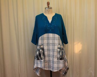 Plus Size tunic Women's funky dress Plaid men Shirt Eco Friendly Clothing Boho Chic clothes Country western Cowgirl chic top 2X -3X Altered