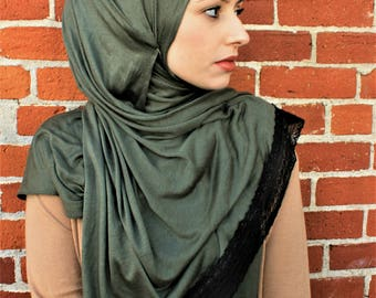 Olive Green and Lace hijab