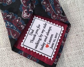 "SKINNY TIE PATCH - Choose Message and Font - Little Heart Accent -  Iron On - Sew On - 2"" x 2"" - Printed Tie Patch, Father of Bride or Groom"