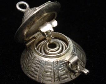 Cobra in a Basket Charm Vintage Silver Snake Mechanical