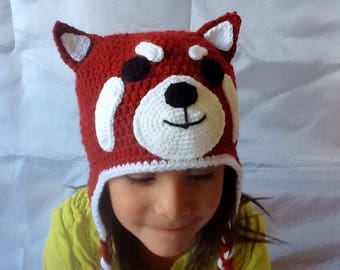 Red Panda Hat. Crocheted Red Panda Hat for children.