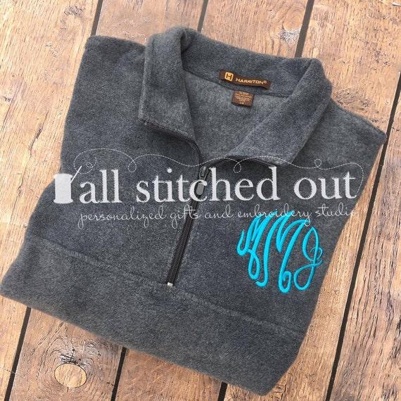 Monogram Quarter Zip Fleece Pullover Monogrammed Fleece