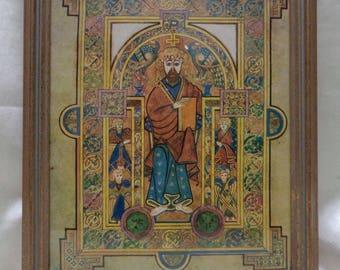 Old Framed Religious 1977 Portrait of Christ (Book of Kells: Celtic Art) Print