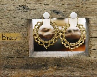 Mandala Earrings, Ethnic Brass Earrings, Gipsy Earrings, Tribal Earrings, Indian Earrings, Bohemian Earrings, Yoga Jewellery
