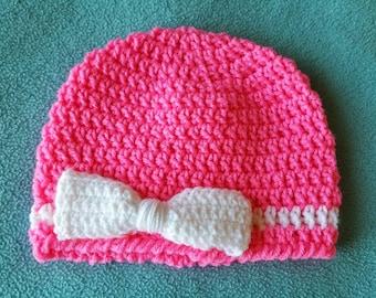 Newborn Baby Crochet Hat Pink - Handmade Accessories for Children - AutumnsItems