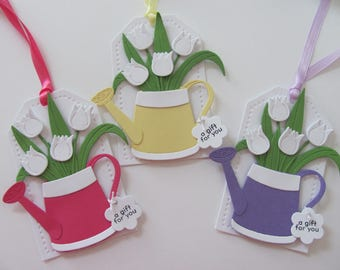Mother's Day Gift Tags, Watering Can Gift Tags, Set of 3, Mother's Day Tags, Tulip Gift Tags, Tulips Tags, Tulip Favor Tags, Mother's Day