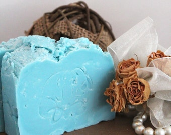 Palm free soap, Ice Blue, SLS free, shea butter soap, body safe glitter, olive oil soap, rose scented, citrus and lemon, cruelty free