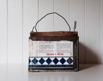 Old hand constructed peg bucket box tin