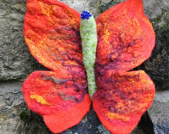 HAND MADE hand felted BROOCH Pin Corsage Butterfly Poppy Crystal Beads Gift Idea Art Boho Festival One of a Kind