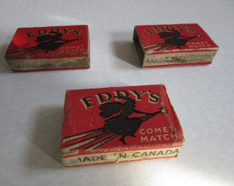 3 Eddy's Comet Matchboxes / Flying Witch matches / no matches