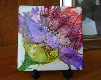 alcohol ink art,flower picture,ceramic tile,one of a kind painting, home decor