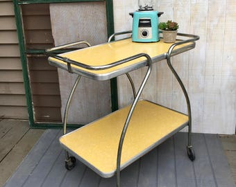 Midcentury Yellow Formica, Two Tier Kitchen Cart, Midcentury Rolling Bar Cart, Yellow Formica and Chrome Rolling Cart