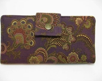 Womens Wallet, Purple Handmade Wallet, Clutch Wallet